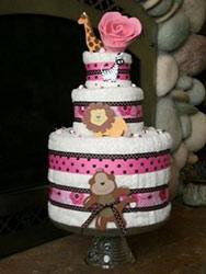 pink and black polka dot towel cake