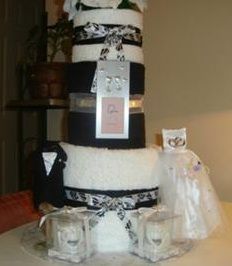 black and white wedding towel cake
