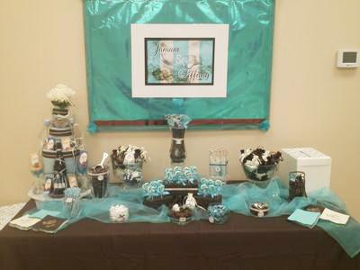 blue wedding towel cake with wine theme