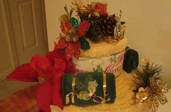 closeup of christmas towel cake