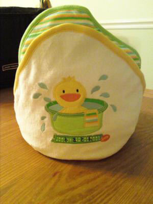 green and yellow ducky towel cupcake