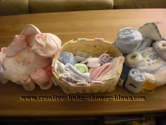 top view of towel cupcakes and baby basket
