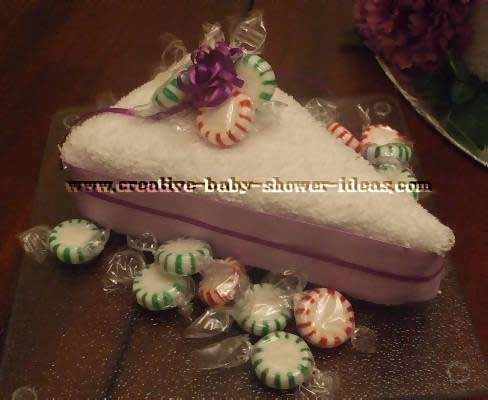 closeup of towel slice cake with candies