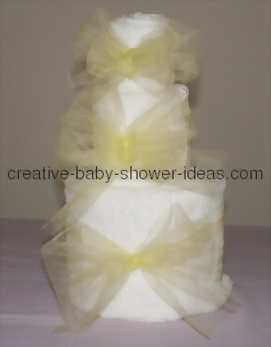 bows tied on each layer of towel cake