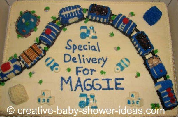train cake that says special delivery for Maggie