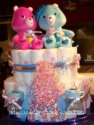 twin care bears diaper cake