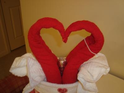 valentines towel cake