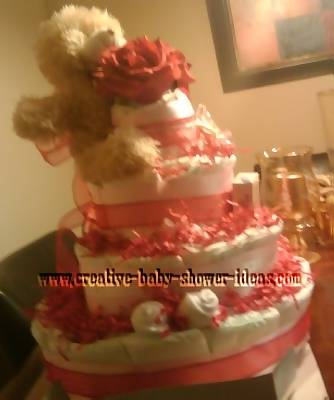 valentine bear diaper cake with sock roses