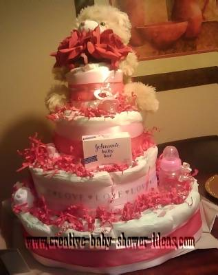 pink and white teddy bear valentine diaper cake
