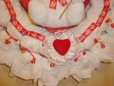 valentines diaper wreath