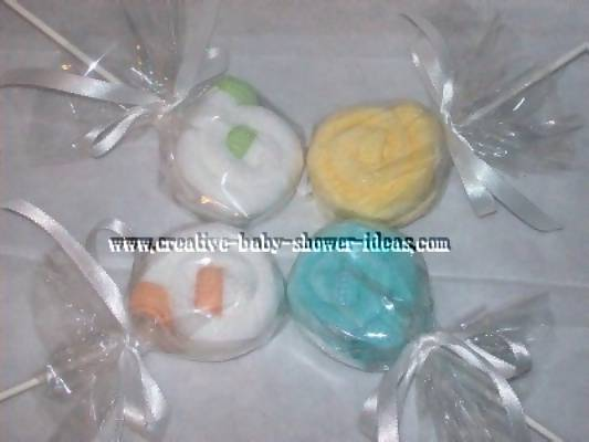 neutral washcloth lollipops