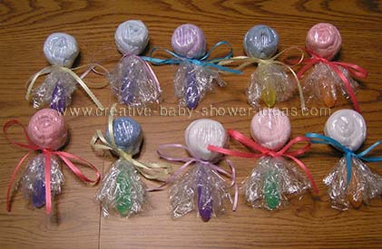 colorful washcloth lollipops