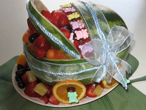 teddy bear watermelon baby carriage