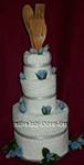 blue and white wedding towel cake