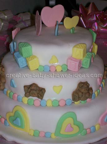 hearts and blocks baby shower cake