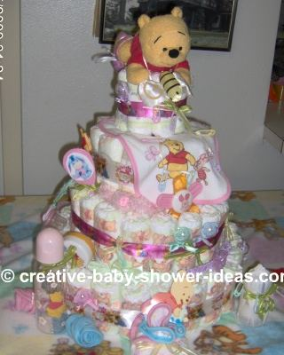 winnie the pooh and honey bees diaper cake