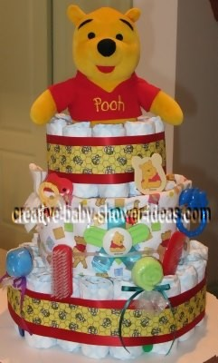 red honey bee winnie the pooh diaper cake