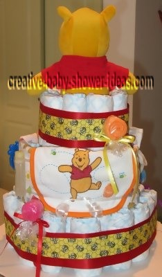 back of red honey bee winnie the pooh diaper cake
