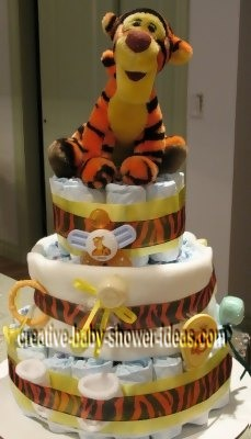 tigger stripes diaper cake