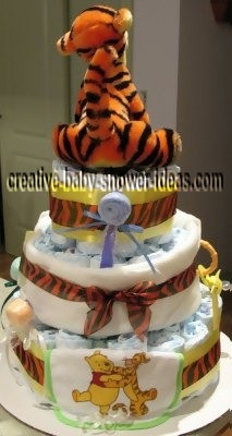 back of tigger stripes diaper cake