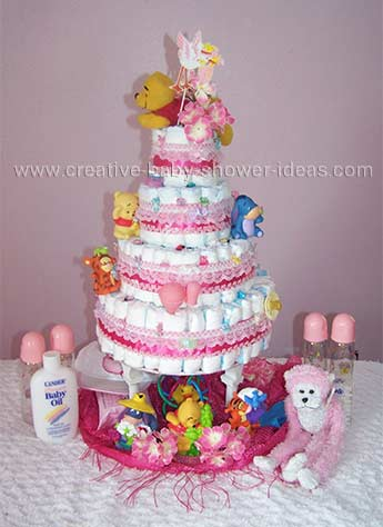 4 tier girl winnie the pooh diaper cake with pillars