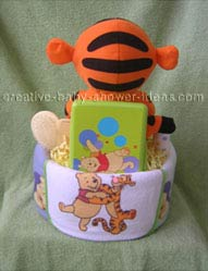 back of tigger blanket diaper cake