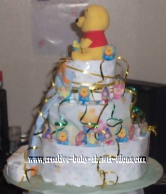 side view of winnie the pooh diaper cake