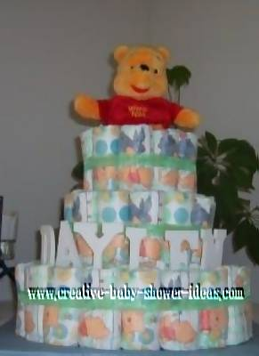 colorful diapers winnie the pooh diaper cake