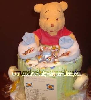 closeup of top of winnie the pooh diaper cake