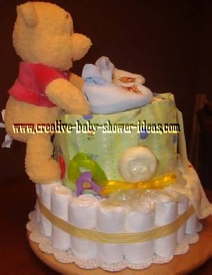 side of winnie the pooh diaper cake
