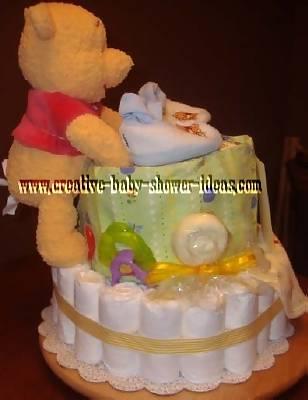 side of winnie the pooh diaper cake