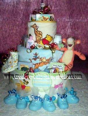 closeup of tigger and friends winnie diaper cake