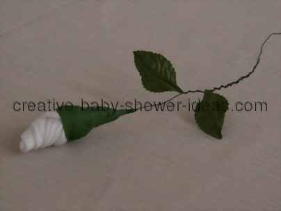 adding leaves to sock rose stem