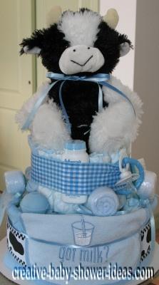 blue plaid cow got milk diaper cake