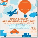 balloons planes and cars adoption baby shower invitation