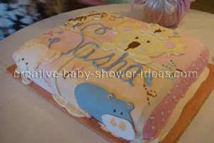 side view of jungle animals on quilt cake