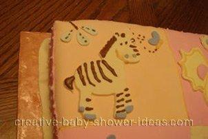 closeup of zebra animal quilt blocks cake
