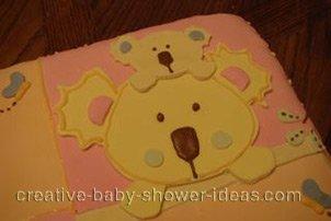 closeup of koala animal on quilt blocks cake