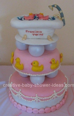 Pink Rubber Ducky Baby Bathtub Cake
