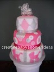pink and white baby carriage cake