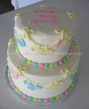 pastel baby clothesline cake