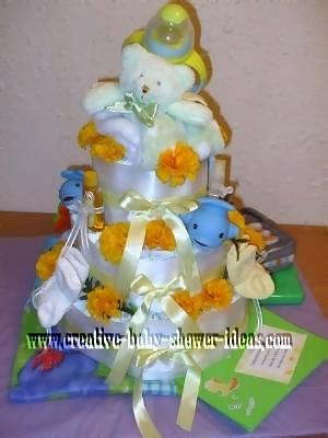 teddy bear and flowers diaper cake