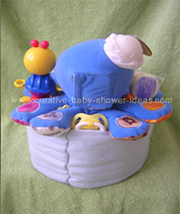 back of octopus diaper cake showing baby pins