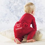 baby in red Christmas long johns