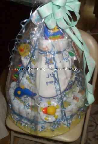 blue ducks diaper cake