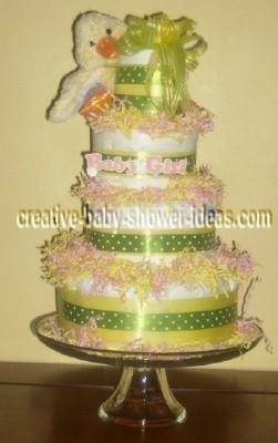 green polka dot duck diaper cake