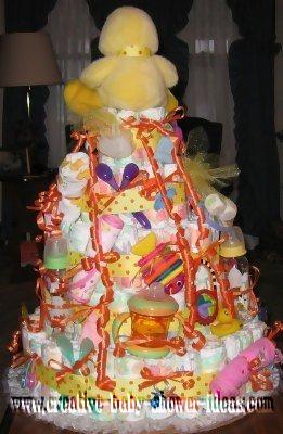 back of baby shower duck diaper cake