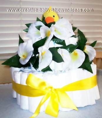 1 tier ducks and lilies diaper cake