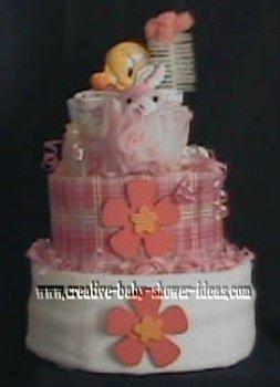 pink tweety duck flower diaper cake