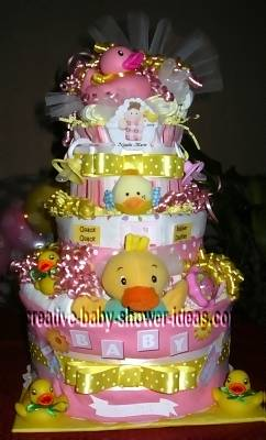 pink and yellow polka dot duck diaper cake